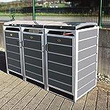 Prewood WPC Mülltonnenbox, Mülltonnenverkleidung für 3x 120l Mülltonne grau // 70x204x113 cm (LxBxH) // Gerätebox, Gartenbox & Mülltonneneinhausung