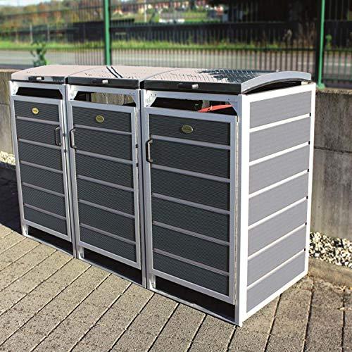 Prewood WPC Mülltonnenbox, Mülltonnenverkleidung für 3x 240l Mülltonne grau // 86x228x127 cm (LxBxH) // Gerätebox, Gartenbox & Mülltonneneinhausung