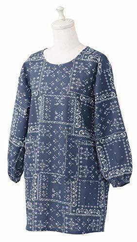 レップ 三角巾 ネイビー 着丈:約80、身幅:約56、袖丈:約25、裾幅:約55cm 割烹着 カーラ レディース