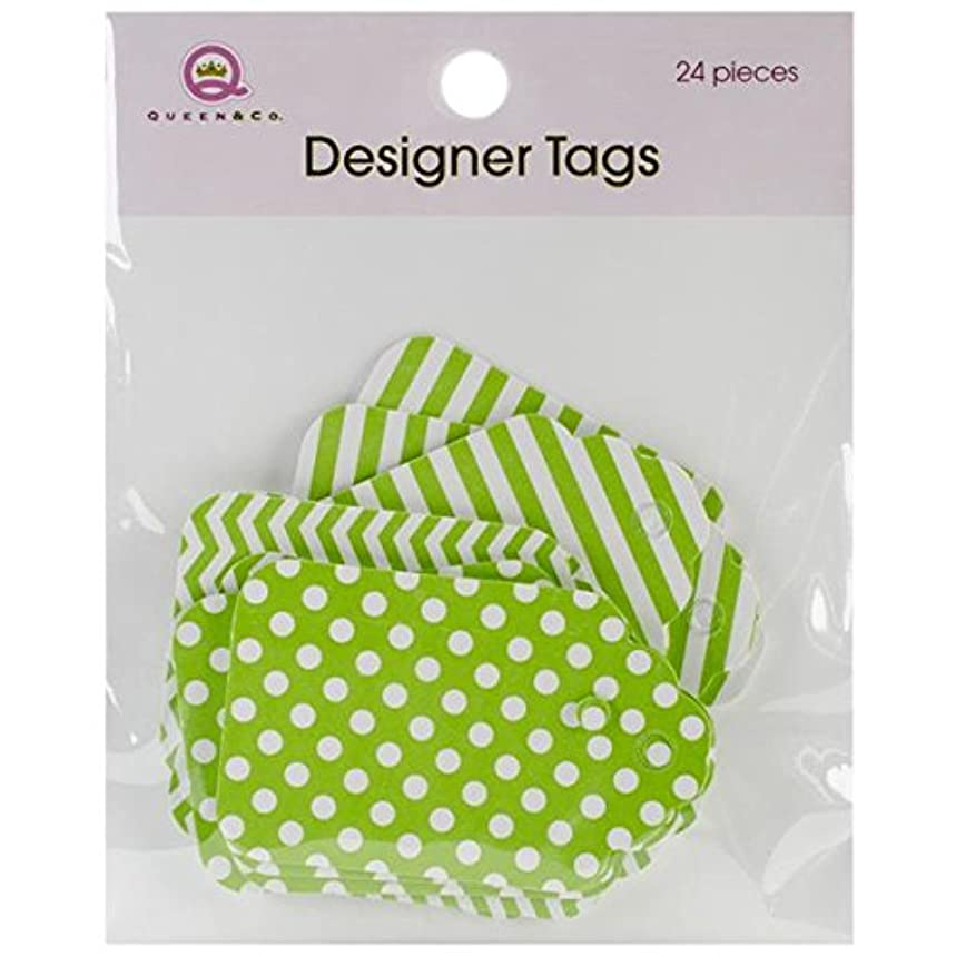 Queen & Co Designer Tags, 2 by 1.25-Inch, Green
