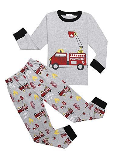 Bricnat Schlafanzug Jungen Langarm Baumwolle Pyjama Kinder Zweiteiliger Nachtwäsche Set Dinosaurier,Hai, Sternenhimmel, Feuerwehrauto,Bulldozer 3-11 Jahre Grau 100