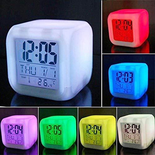 LKU Draagbare wekker, voor thuis, slaapkamer, LED, verandert digitale thermometer, nachtlampje, bureau, wekker, 1