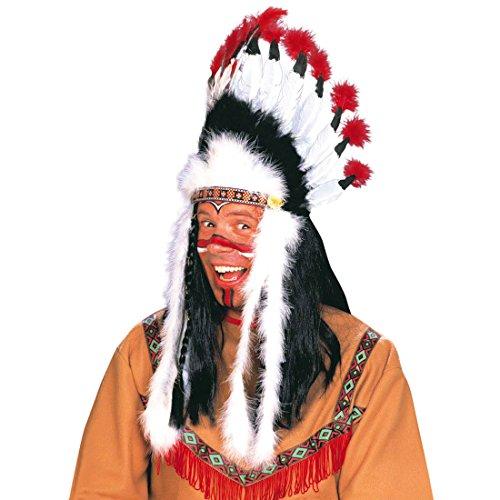 Amakando Indianer Kopfschmuck Häuptling Federhaube Western Feder Haube Federkopfschmuck Apachen Rothaut Squaw Wilder Westen Federschmuck Fasching Cowboy Mottoparty Accessoire Karneval Kostüm Zubehör