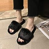 XZDNYDHGX Zapatillas de Invierno Antideslizantes,Pantuflas de Felpa de Primavera y otoño para Mujer de Interior y Exterior, Pantuflas cálidas, Sandalias de Felpa borrosas, Negras EU 35