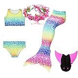 UniDesign Disfrazar Bañador Traje Cola de Sirena para Natación con Bikini y Aleta Monoaleta, 7-8 años, (Rainbow)