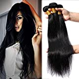 Elailite Extensiones Cabello Natural Cortina sin Clip #1B Negro - Pelo Humano Brasileño 100% Remy Human Hair Bundles (40cm 45cm 50cm, 300g)