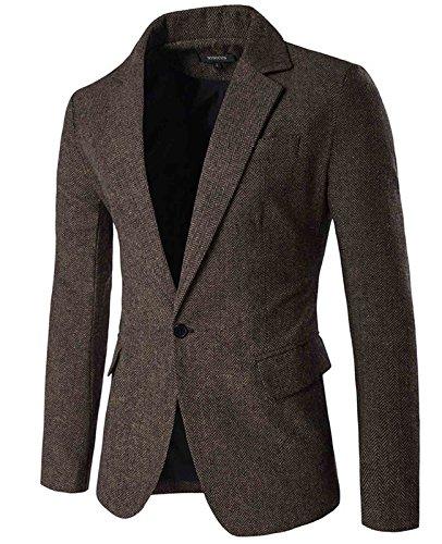 Nidicus Mens Herringbone Fit British Style Blazer One Button Sport Coat Coffee M