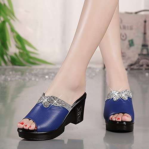 SCLOTHS Tongs Femme Chaussures Similicuir d'été Confortable Confortable Diamants artificiels la Pente  magasin d'usine
