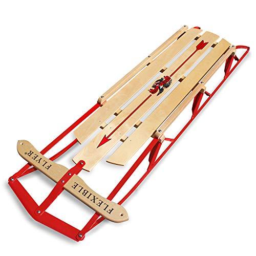 """Flexible Flyer Large Steel Runner Sled. Metal & Wood Steering Snow Slider. Adult 60"""""""