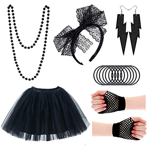 Women's Black 1980s Party Costume Set with Skirt and Accessories. Also available in Pink.