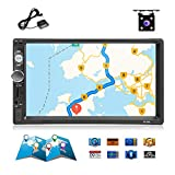 Double Din Car Stereo GPS Navigation Head Unit Car Radio Autoradio 7' LCD Touch Screen in Dash Car Audio MP5/Bluetooth/FM Receiver Car Multimedia Player + 4 Led Backup Camera