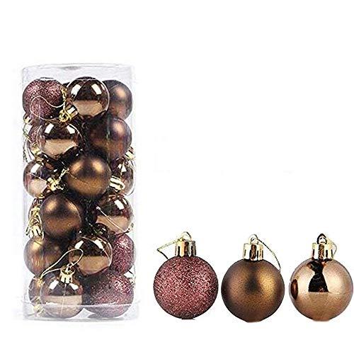 feng biao Christmas Ball Pendant, Decorative Shatterproof Christmas Tree Pendants Hanging 40mm Christmas Baubles Balls Ornaments Set Pack of 24 pcs (Coffee)