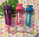Water Bottle pink or purple or blue Personalised with love 1 name christmas school summer Xmas holiday island