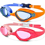 EasYoung 2-Pack Kids Swimming Goggles, Cute fish style, Quick Adjustable Strap Swim Goggles for Children or Toldder from 3-12 Years, Anti Fog, Waterproof, UV Protection