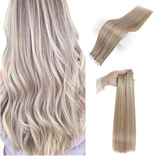 Full Shine 20 Inch Invisible Tape In Hair Extensions Human Hair Piano Color 18/613 Two Tone Blonde Hair Extensions Glue In Hair 20 Pcs 50 Gram Pu Tape Hair Extensions Remy Hair