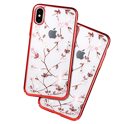 JZWDMD para iPhone XR Funda,para iPhone X Funda Rhinestone Swarovski Elements Parachoques con Borde Suave Bumper Case para Apple iPhone 7 Plus/iPhone 8 Plus