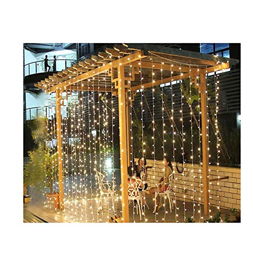 JQER Led Net Fairy Lights Warm White Plug in 3m x 3m, 200 LED Mesh String Decorative Lights Mains Powered with Remote & Timer for Indoor Curtain Outdoor Christmas Tree Garden-color