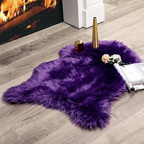 MIULEE Faux Fell Teppich Flauschig Weiche Warm Modern Bodenmatte Sofa Matte Kunstfell Dekofell Unregelmäßig Bettvorleger Wolle Longhair Optik Gemütliches 60 x 90cm Lila
