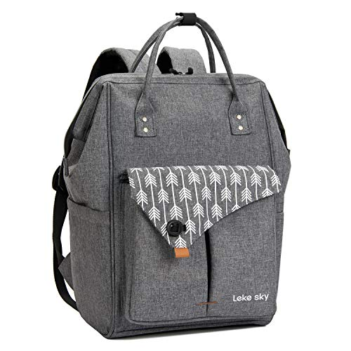 Lekesky Laptop Rucksack 15.6 Inch Computer Backpack School Bag for Travel/Business/College/Women/Men- Grey