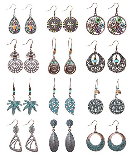 Finrezio 12 Pairs Bohemian Vintage Dangle Earrings Retro Rhinestone Earrings Turquoise Boho Dangle Drop Earrings Set for Women Girls