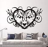 xlei Etiqueta De La Pared Pegatinas De Pared De Vinilo Creativo En Forma De Corazón Wallpaper Mariposas Y Floral DIY...