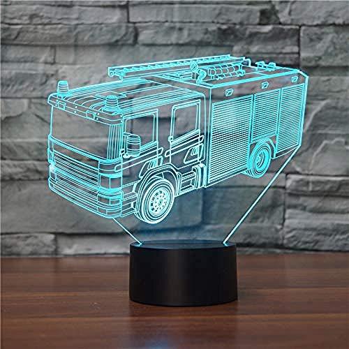 3D camion de pompiers LED lampe d'illusion USB 7 couleurs dimmable décoratif, idéal pour chambre d'enfant table de chevet bébé enfant cadeau de Noël fête d'anniversaire