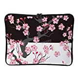 DKISEE - Funda para portátil de 10 pulgadas, diseño de flores de cerezo, compatible con MacBook Air/MacBook Pro de dos vías, con cremallera y bolsa de transporte, SDS161