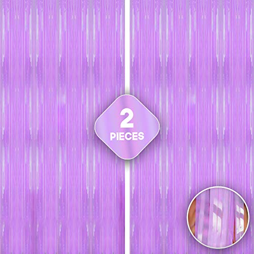 Xtra Large, Pastel Purple Fringe Curtain - 3.2x10 Feet   Pack of 2   Foil Metallic Purple Backdrop   Purple Tinsel Curtain for Unicorn and Mermaid Themed Party, Under The Sea and Baby Shower Decor
