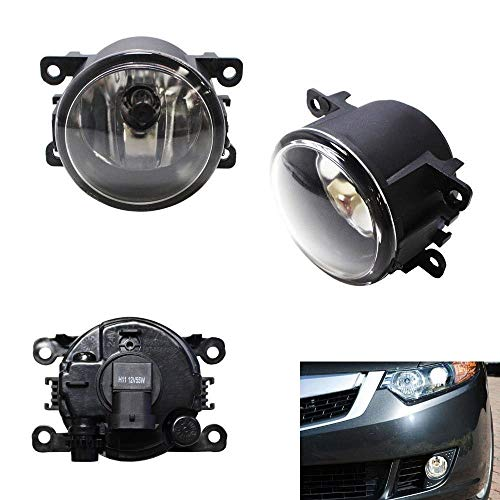 iJDMTOY Pair Clear Lens Fog Light Lamp Assemblies w/ 55W H11 Halogen Bulbs Compatible With Acura Honda Ford Suzuki etc