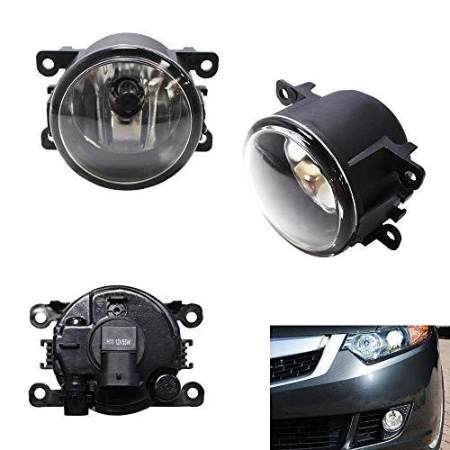 iJDMTOY Pair Clear Lens Fog Light Lamp Assemblies w/ 55W H11 Halogen Bulbs Compatible With Acura Honda Ford Nissan Subaru Suzuki etc
