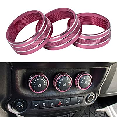 Danti 3pcs Audio Air Conditioning Button Cover Decoration Twist Switch Ring Trim for Jeep Wrangler JK JKU Compass Patriot 2011-2018 (Pink Rose)