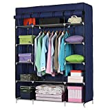 "53"" Portable Closet Storage Organizer Wardrobe Clothes Rack with Shelves (Blue)"