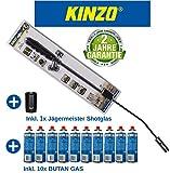 Kinzo K0318 Unkrautbrenner Unkrautvernichter 80cm, inkl 10 Butangaskartuschen je 227g, Gasbrenner mit Piezozündung,...