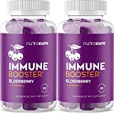 (2-Pack) Nutracure All-in-One Immune Booster Elderberry Gummies with Vitamin C, Echinacea, Propolis - Immune Defense and Immune Support for Kids and Adults - 120 Vegan Gummy Vitamins