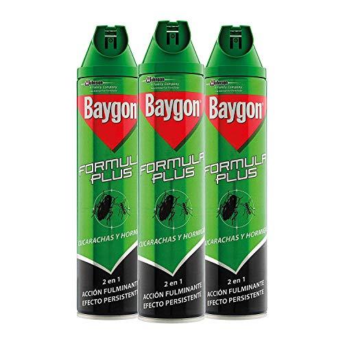 Baygon - Insecticida contra cucarachas y hormigas, formula plus, acción rápida y efecto duradero, 600ml - Pack de 3 uds