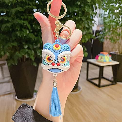 JKLO China Lion Dance Colgantes Llavero Creativo Coche Llavero Femenino Mochila Bolsa Charm Accesorios cumpleaños 722 (Color : Blue, Size : 14cm)