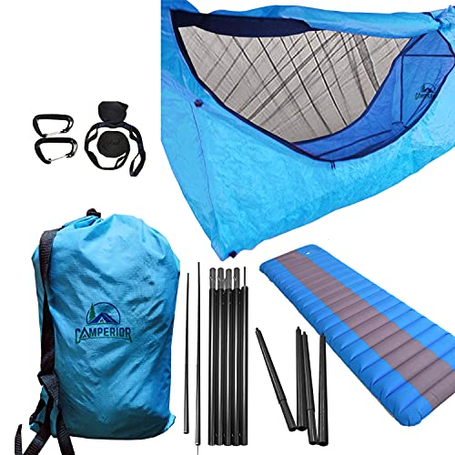 CAMPERIOR Portable Superior Flat Hammock Tent kit-Mosquito Net, Waterproof Rain Fly, Complete Lightweight for Relaxing Ergonomically Camping, Backpacking Outdoor, Travel, Tactical Survival, Back Porch