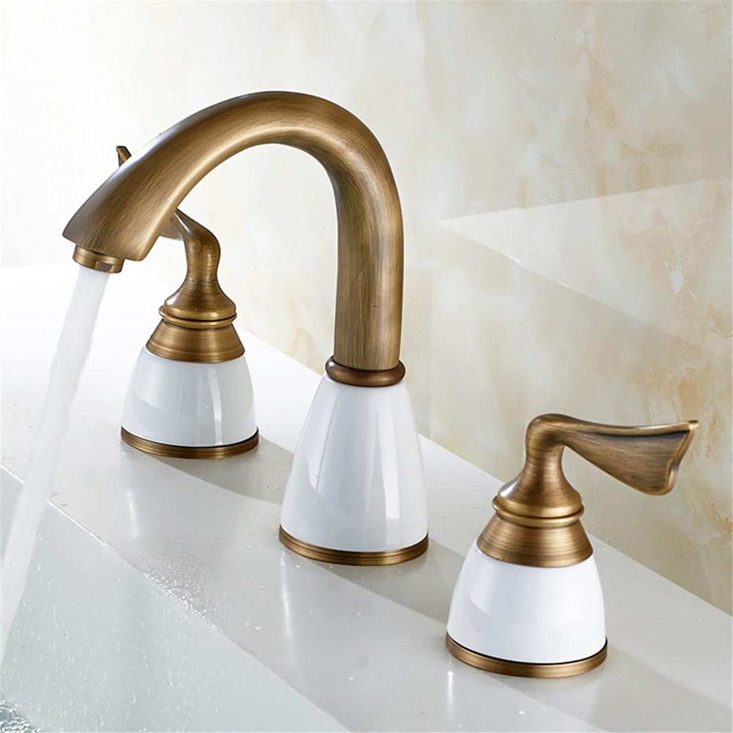 YAWEDA Antique All-Copper Basin Faucet Three-Piece Set Three-Hole Split Cold and Hot Water Mixer