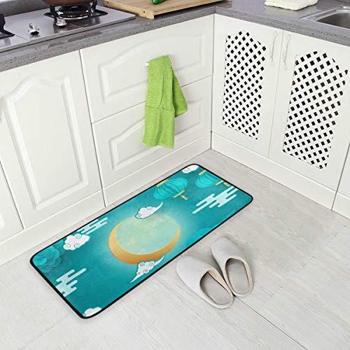 Mr.Lucien Alfombra larga de cocina para mediados de otoño, diseño de conejo, fondo azul, antideslizante, antifatiga, cómodo, impermeable, ideal para cocina de 99 x 50 cm, 2020227