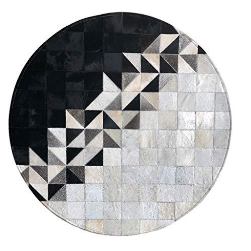 Runde Teppich Leder Schwarz und Weiß Mosaik Schlafzimmer Hängenden Korb Computer Stuhl Klavier Garderobe Matte Teppich 1/1,2 mt (Farbe : #2, größe : 1.2m)
