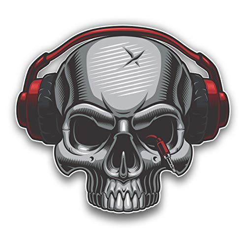 DJ Skull with Headphones Car Sticker Motorcycle Bicycle Skateboard Laptop Luggage Decals Bumper Stickers Waterproof