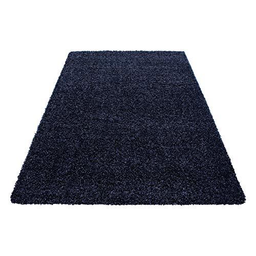 Teppich Hochflor Shaggy Teppich Unicolor einfarbig Teppich farbecht Pflegeleicht, Maße:60 cm x 110 cm, Farbe:Dunkelblau