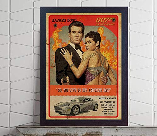 ISRAELI STORE #James #Bond 007 car Film Movie Die Another Day Pierce Brosnan Halle Berry Poster Retro Print Game Quote Print Old Photo or UNFRAMEDGifts for Fan Lovers Posters No Framed
