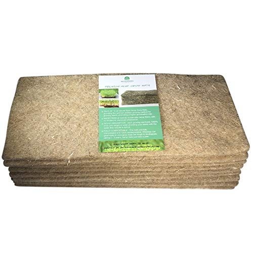 Premium Hemp Grow Mats for Microgreens, Wheatgrass, Sprouts & Seedlings. 10 Thick Hemp Grow Pads Measuring 15' x 6.5' Each.