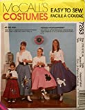 McCalls Sewing Pattern 7253 Girls Poodle Skirt, (Size 7/8, 10/12, 14)