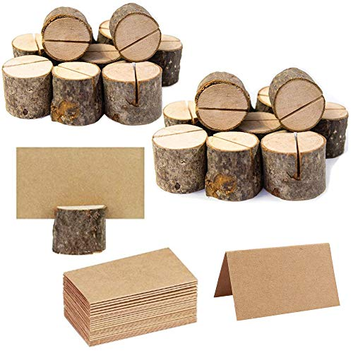 20Pcs Rustic Wood Table Numbers Holder and 30Pcs Kraft Table Place Cards Wood Place Card Holder Party Wedding Table Name Card Holder Memo Note Card