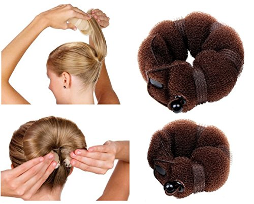 JJMG New Hair Bun Maker Hair Donut Foam Sponge Clip French Twist, Ring Style Bun 2-pcs Large & Small Helps Create a Full Fashionable Bun that Looks Perfect (Brunette)