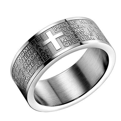 Flongo - Anillo para hombre de acero inoxidable - Color plata - Modelo del anillo con oración del Padre Nuestro y cruz bíblica plateado
