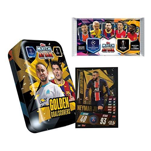 Match Attax 2020-21 Topps Champions League Cards - Golden Goalscorers Mega Tin + 1 Bonus Promo Pack (55 Cards, 15 Exclusive Cards + LE Gold Neymar Card) (Look for Martial, Benzema & Suarez)