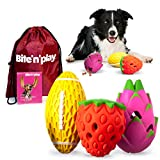 Bite'n'Play Premium Dog Chew Toys, Sleek Design Interactive Dog Toys, Squeaky Dog Toys, Dog Toys for Aggressive Chewers Large Breed, Great Value Dog Puzzle Toys 3-Pack Natural Rubber Dog Toy Pack
